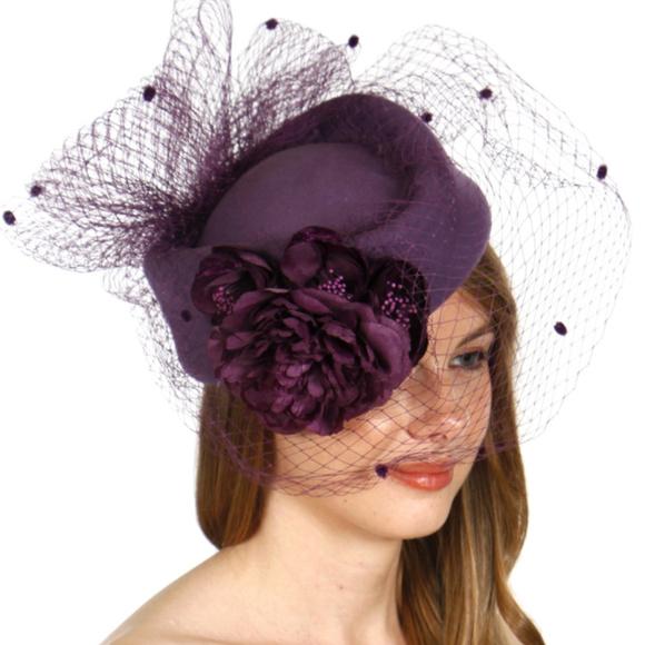 89bde234f Wool felt veil cocktail hat purple Boutique